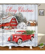 Christmas Shower Curtain, Colorful Christmas Balls with Pine Fir Tree, P... - $44.29