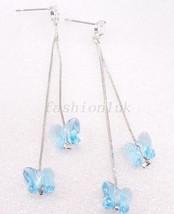 cristal goutte pendants boucles d'OREILLES OR BLANC Plaqué Mariage Noël - $17.20