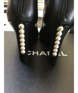 NIB 100% AUTH Chanel 14P G29717 Black Lambskin Short Boots Pearl Heel Sz 36 - $890.01