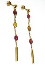 Pendientes de Oro Amarillo 750 18K, Colgantes con Tormalina Ovalados Violeta image 1