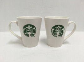 Starbucks 2016 Set of 2 Coffee Cup Classic Icon Mermaid Logo 12oz White Ceramic  - $15.88