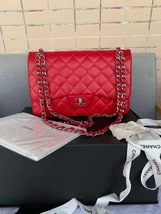AUTHENTIC CHANEL RED CAVIAR QUILTED JUMBO DOUBLE FLAP BAG SILVER HARDWARE