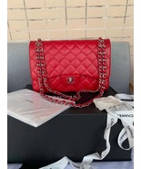AUTHENTIC CHANEL RED CAVIAR QUILTED JUMBO DOUBLE FLAP BAG SILVER HARDWARE - $4,199.99