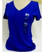 Tommy Hilfiger Women's Short Sleeve V-Neck Tee Shirt Top Cobalt Blue Sz S/P - $14.64