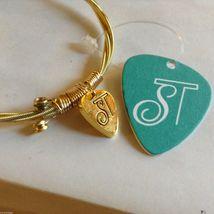 String Theory Guitar Strings Gold Bracelet w/ a Royal Blue Stone, Size 7 1/2 image 5
