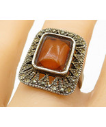 925 Silver - Vintage Amber Marcasite Accented Square Cocktail Ring Sz 7 ... - $35.60