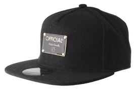 Official Crown Black Luxury Brushed Wool Stato Dorada Strapback Baseball Hat NWT