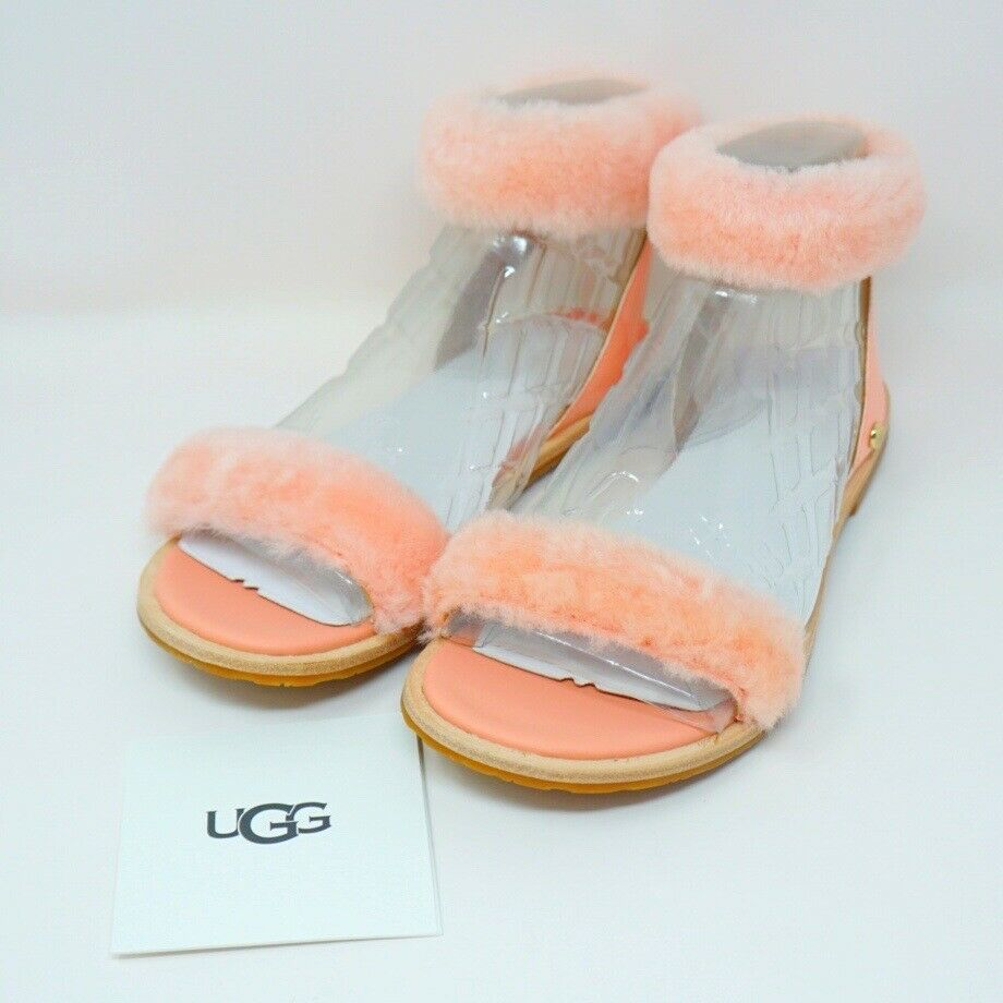 Primary image for UGG Fluff Springs Sandal Patent Leather Sheepskin Sunset Color