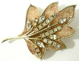Vtg Coro Signed Glittery Sparkle & Gold Tone Rhinestone Leaf Brooch Pin ... - $14.00