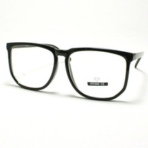 Unique Square Eyeglasses Geek Nerdy Fashion Clear Lens Eyewear BLACK - $6.88