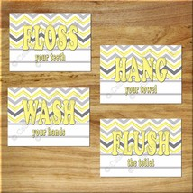 Bathroom Wall Art Prints Wash Hang Floss Flush Toilet Rules Chevron Gray... - $13.97