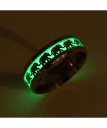 Luminous Ring Men Elephant Pattern Glow In The Dark Rings Women Stainles... - $8.34