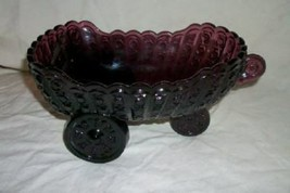 L.G. WRIGHT AMETHYST PURPLE GLASS CART BOWL PRESSED BUTTON 3 WHEEL MID C... - $49.99