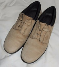 Clarks Beige Suede Leather Lace Up Oxfords Women's 8.5 Medium - $16.00 CAD