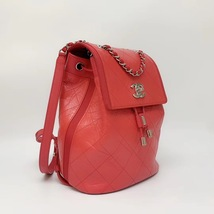 100% AUTHENTIC CHANEL 2018/2019 RED QUILTED CALFSKIN BACKPACK SHW image 2