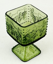 Indiana Glass Harvest Grape Green Square Pedestal Bowl Candy Dish Compote - $10.00