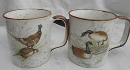 OTAGIRI COFFEE MUGS 2 GAME BIRDS GEESE PHEASANTS 2 VINTAGE JAPAN FATHERS... - $25.73