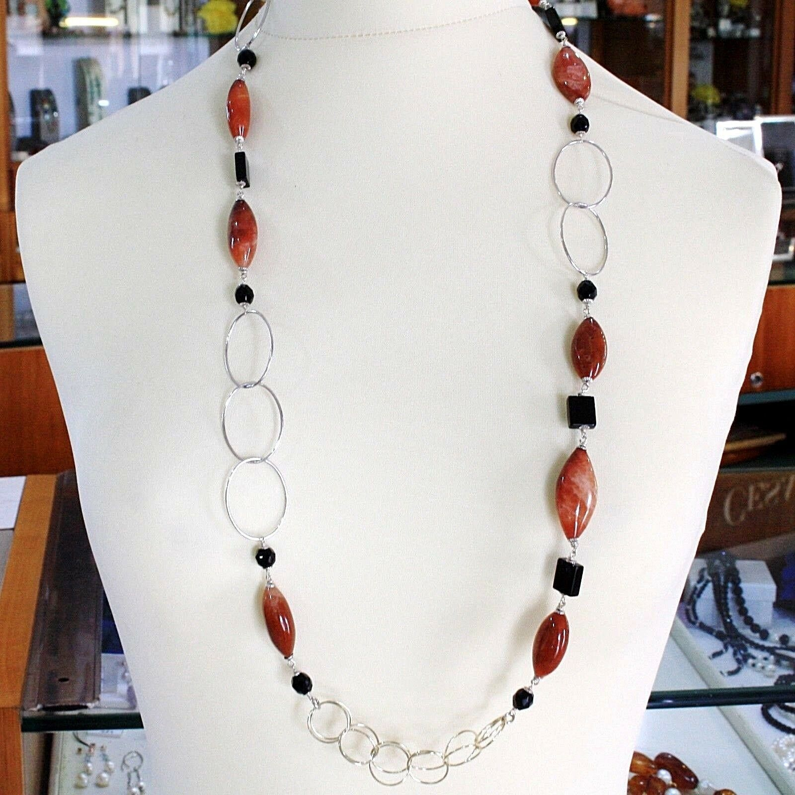 Necklace Silver 925, Jasper Oval, Onyx, Length 90 cm, Circles Large