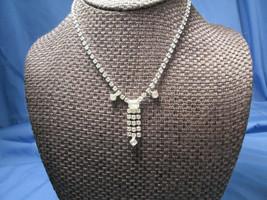 White Rhinestone Choker Prong Set Art Deco Style Necklace Cocktail Spark... - $37.62
