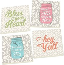 Southern Phrases Bless Your Heart on Patterns 4 Piece Square Ceramic Coaster Set