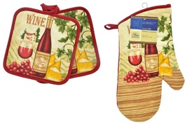 WINE & CHEESE OVEN MITT Set 3pc Mitt Potholders Red Wine Bottle Vineyard... - $8.99