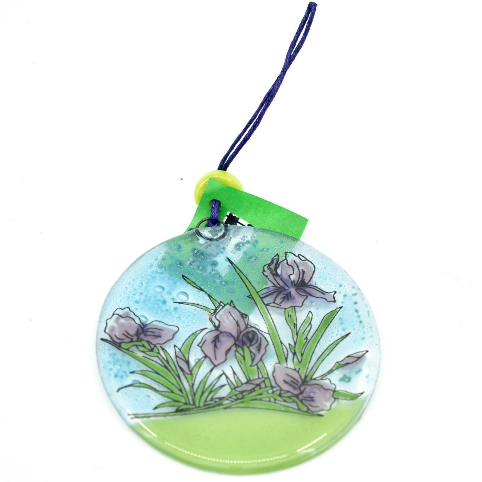 Fused Art Glass Purple Iris Flower Ornament Sun Catcher Handmade in Ecuador