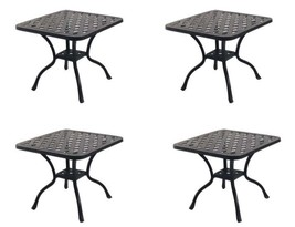 "Patio 21"" Square End Table Nassau set of 4 Cast Aluminum Pool Side Furniture image 1"