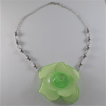 925 SILVER NECKLACE WITH BEAUTIFUL ROSE RESIN AND CUBIC ZIRCONIA, MADE IN ITALY image 1