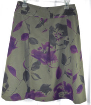 Talbots Collection A-Line Skirt Size 8 Womens Gray Flannel Purple Floral... - $19.35