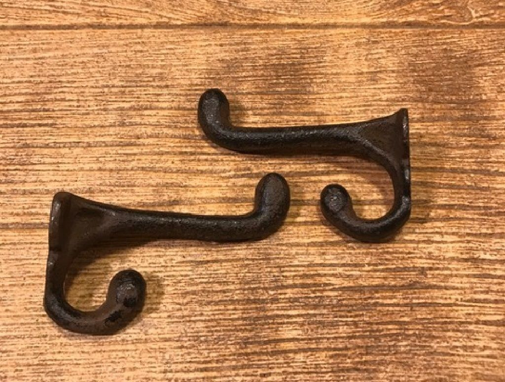 Primary image for Cast Iron Reproduction Double Wall Hook (Set of 2) Rustic Brown 0170-01202