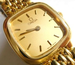 Devil Omega De Ville Ladies Quartz Watch Gold Free Shipping Japan Authentic - $515.89