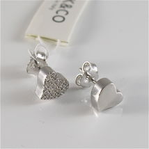 925 RHODIUM SILVER JACK&CO EARRINGS WITH HEART WITH CUBIC ZIRCONIA MADE IN ITALY image 3