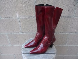 Balenciaga Authentic Red Leather El Corte Ingles High Ankle Boots Sz 37 - £242.21 GBP