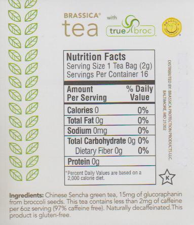 Brassica Decaf. Green Tea w/Truebroc Case of 6 Boxes (96 Tea Bags)