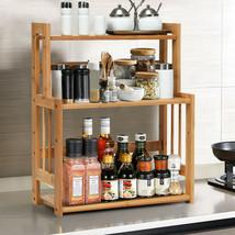 Bamboo Spice Rack W Adjustable Shelf 3 Tier Kitchen Wooden Shelves Accen... - £29.76 GBP