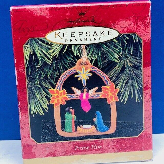 Hallmark Keepsake Christmas ornament vtg box holiday 1997 Praise Him nativity