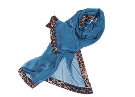 Fashion Woman and Girl Leopard Solid Soft Long Infinity Chiffon Scarf Shawl Blue