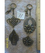 # purse jewelry bronze color keychain backpack charms lot of 2 floral 11 - $5.56