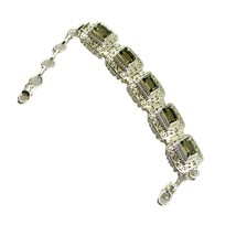 Natural Green Amethyst Silver Bracelet For WomenHandmade Birthstone L 6.... - $87.85