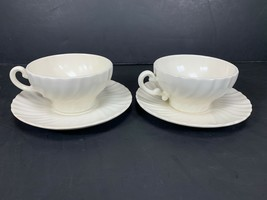 SET OF 2 Vintage CUPS & SAUCERS FRANCISCAN WARE CORONADO SWIRL Matte White - $17.81
