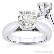Round Cut Moissanite 14k White Gold Cathedral Setting Solitaire Engageme... - £658.26 GBP+