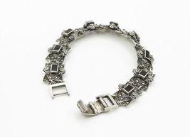 925 Sterling Silver - Vintage Black Onyx & Marcasite Chain Bracelet - B6135 image 3