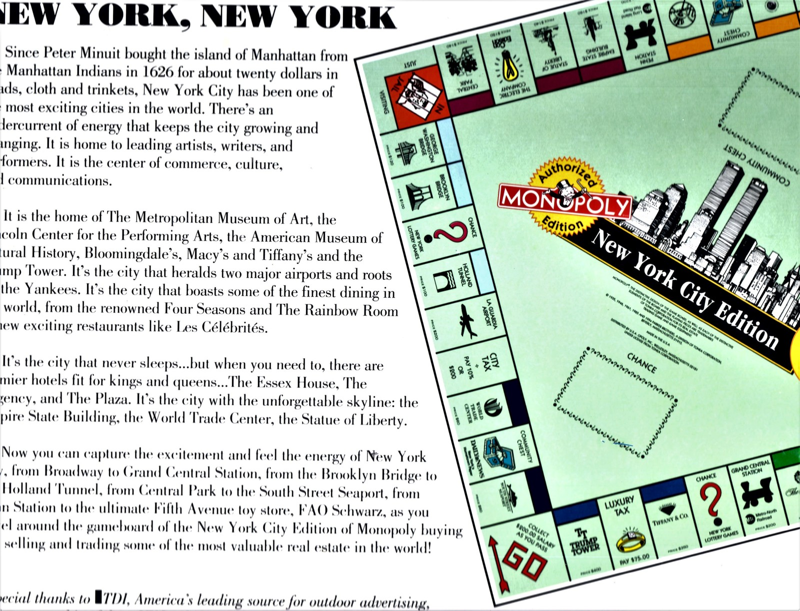 Monopoly - New York City Edition Monopoly - 1995 (Complete)