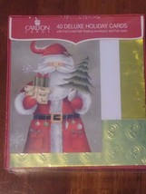 Deluxe Christmas Cards 40 Santa Holiday Carlton Gold Foil New Self Seal ... - $18.99
