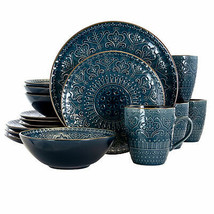 Elama  Deep Sea Mozaic 16 Piece Luxurious Stoneware Dinnerware with Comp... - $98.72