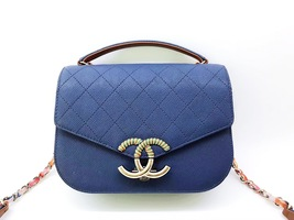 AUTHENTIC CHANEL 2017 QUILTED CALFSKIN CUBAN CC FLAP 2 WAY BAG BLUE RECEIPT
