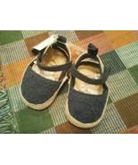 infant toddler blue eyelet crib shoe 3-6 months adjustable strap soft so... - $11.87
