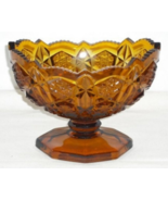 Kemple Wheaton or McKEE Pressed Glass Amber TOLTEC Footed Compote Bowl - $18.00