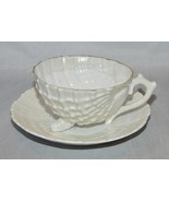 Antique Cup and Saucer Set Luster Shell Shape Cup  - $13.86