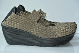 NEW Nine West Kiley Womens 9.5 M Bronze Weaved Textile Wedge Slip On Mary Janes - $29.69